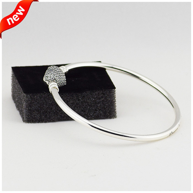 Heart Bangles Compatible with European Jewelry Real 925 Sterling silver Clear C.Z, Women style wholesale B12015