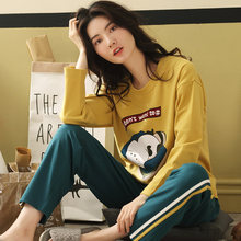 7434a3538b New Autumn 100%Cotton Women s Long Sleeve Pajamas Set Cute Cartoon Round  Neck Leisure Comfortable Big Size M-XXL Girls Sleepwear