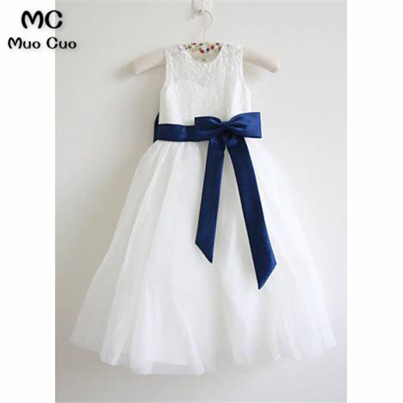 Elegant 2018 A-Line Gown first communion   dresses   for   girls   Lace Ribbon kids evening gowns   flower     girl     dresses   for weddings