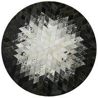 Коровьей лоскутное ковер спальни мозаика геометрические Круглый Большой ковер исследование гостиной журнальный столик площадку прикрова