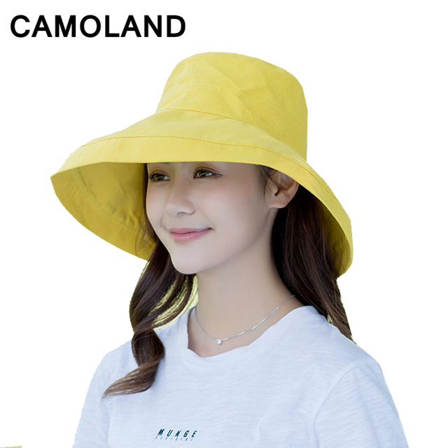 702d7c5bf68 Cotton Fashion Bucket Hats Solid Panama Summer Fishing Hat Female Caps Fine  grid hat UV Protection Sun Hat Pink Long Brim Beach