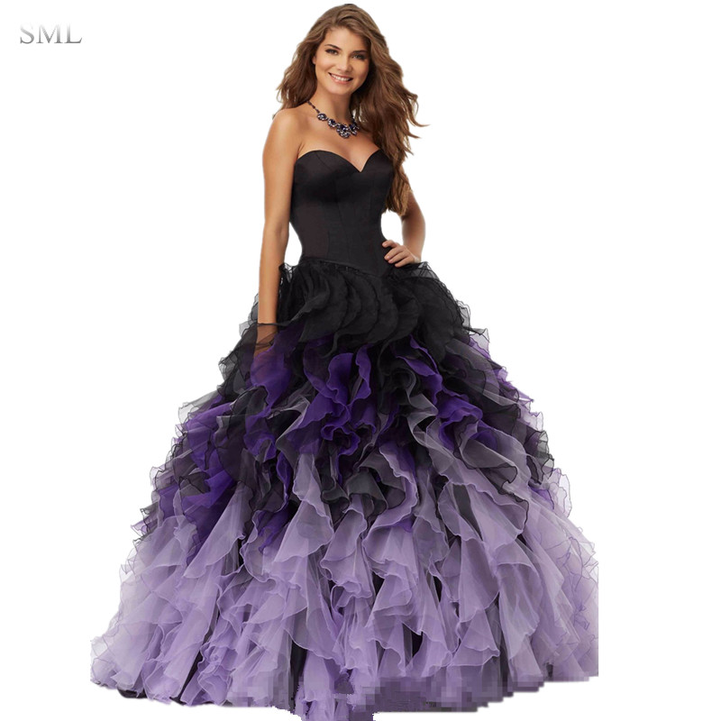SML 2017 Black Purple Ball Gown Prom Dresses Sweetheart Ruffles ...