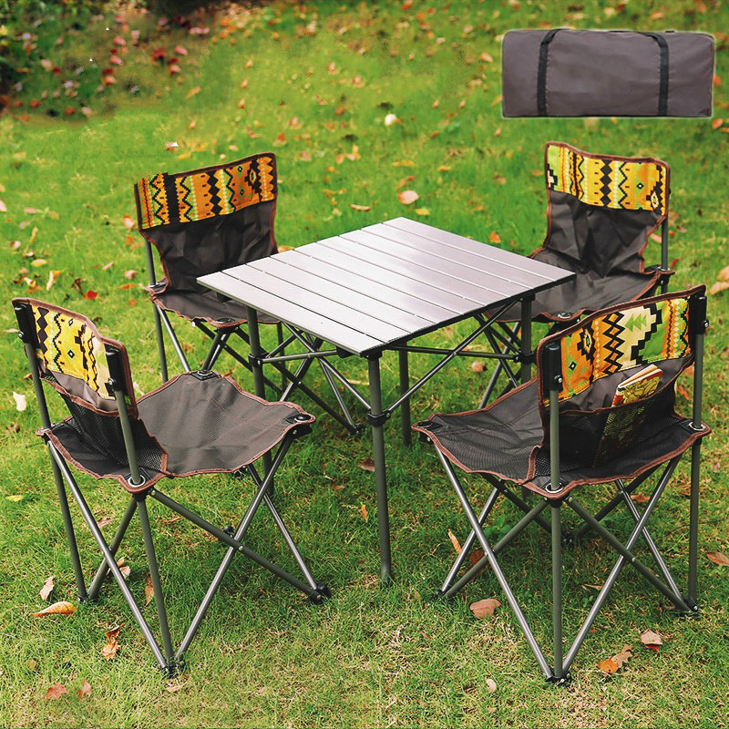Folding Tables And Chairs Outdoor Portable Light Picnic Table And Chairs Self-driving Wild Aluminum Barbecue Camping Table