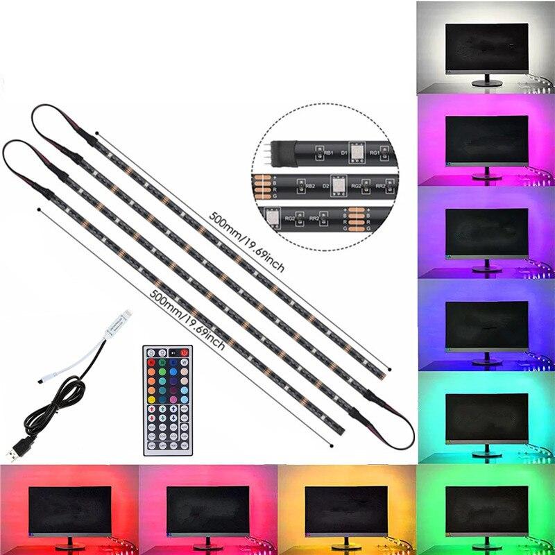 Us 9 02 32 Off Tv Background Strip Lighting Kit 4x50cm 2x50cm 2x100cm Dc5v Usb Rgb Led Light 5050 Smd 44key Remote Controller In
