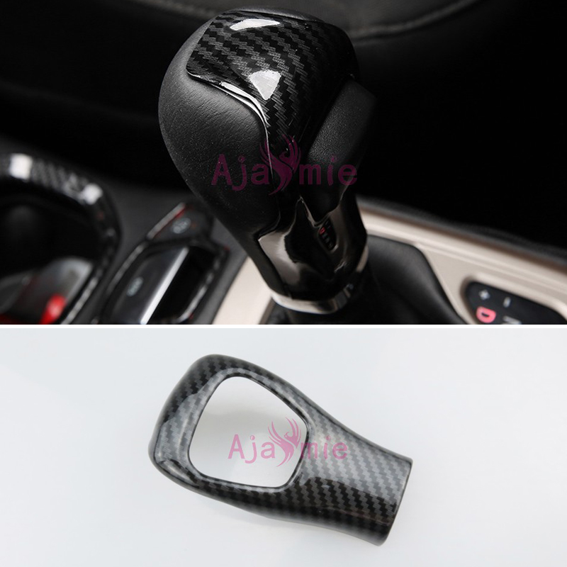 Carbon Fiber Red Silver Front Door shook hands Cover Interior Gear Shift head Trims 2017 <font><b>2018</b></font> For <font><b>Jeep</b></font> <font><b>Compass</b></font> Accessories image