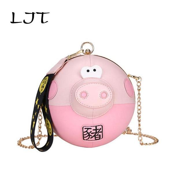 LJT Cute Girl Cartoon Round Bag Women New Fashion Personality Chain Shoulder Messenger Bag Party Clutch Coin Purse Dropshipping