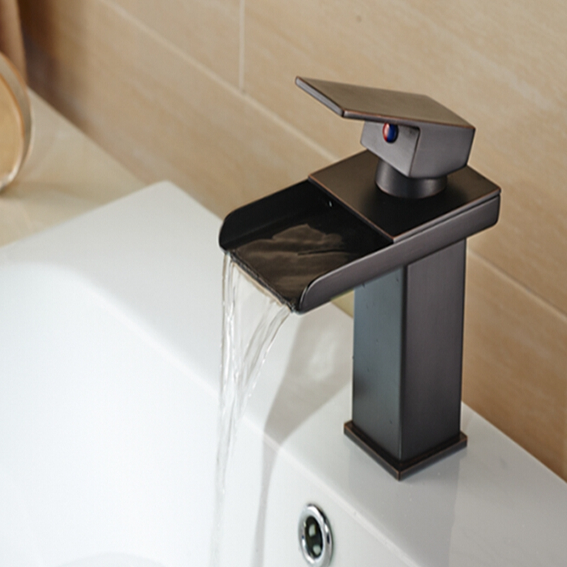 Solid Brass Waterfall Spout Bathroom Basin Faucet Hot Cold Mixer Tap Vanity Sink Mixer Tap Free Shipping