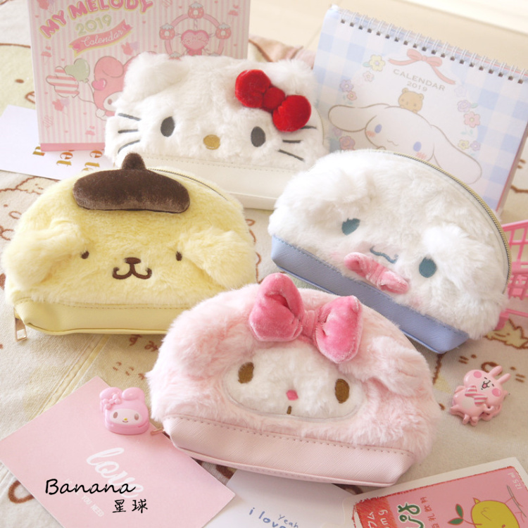 Cartoon Sanrio Hello Kitty My Melody Cinnamoroll Pom PomPurin Cosmetic Bags Storage Toiletry Bag Girls Makeup Bags For Kids Gift