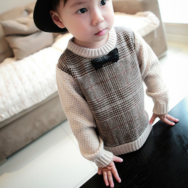 66d51cb2a Cute Baby Boys Casual Sweater Girls O Neck Bowknot Knitted Sweaters ...