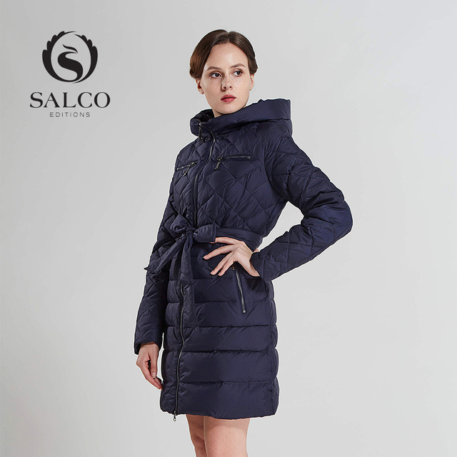 SALCO Frete grátis Em 2016 as novas mulheres usam para manter quente senhora longo casaco com capuz para baixo do revestimento do revestimento de diamante treliça