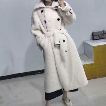 2019 BFFUR Long Woolen Jacket With Belt Real Fur Coat Turn Down Collar Women's Coats Natural Sheepskin Female Winter Outfit