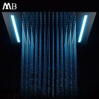 Встроенный на потолке Насадки для душа ванна, тропический душ 500*360 мм Ванная комната Showerhead светодио дный свет SUS304 полированная нужно подклю