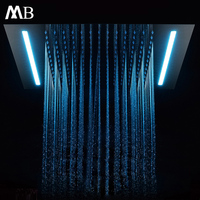 Embedded Ceiling Mounted Shower Head Bath Rain Shower 500*360mm Bathroom Showerhead LED Light SUS304 Polished Need Connect Power