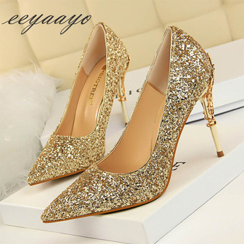 2019 New Spring Women Pumps High Thin Heels Pointed Toe Metal Decoration Sexy Bling Bridal Wedding Women Shoes Gold High Heels 1