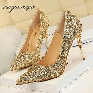 Image 2 - 2020 nuove donne primaverili pompe tacchi alti sottili punta a punta decorazione in metallo Sexy Bling scarpe da sposa da sposa tacchi alti dorati
