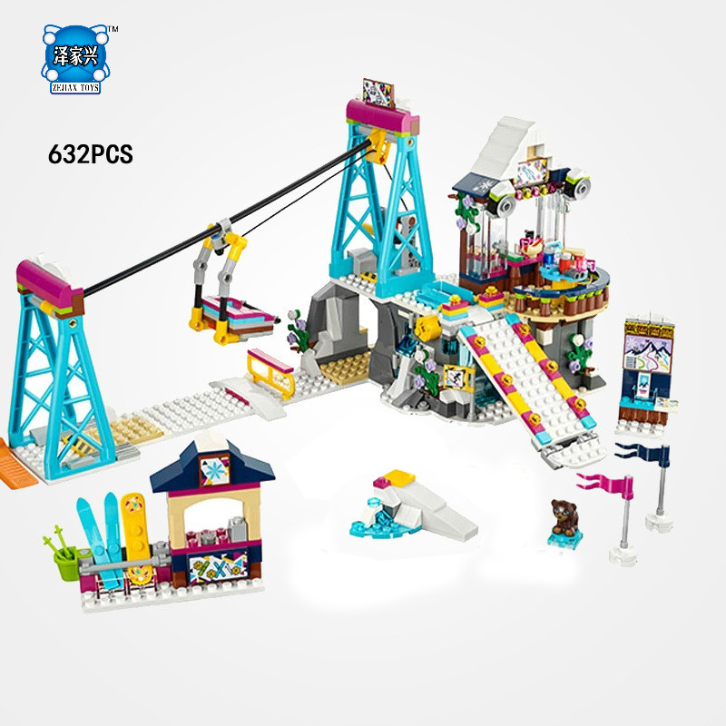 Hot My Good Friends Girls Club Holiday Snow Resort Ski Lift Building Block Mia Olivia Lepins Figures Bricks Toys for Kids Gifts hot city series aviation private aircraft lepins building block crew passenger figures airplane cars bricks toys for kids gifts