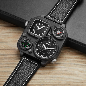 Image 5 - Oulm Sports Mens Watches Unique Compass for Decoration Big Size PU Leather Military Wrist Watch Male Clock Hours Man