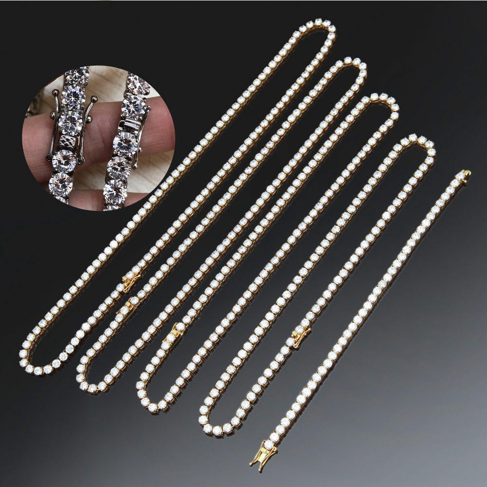 Men 39 s Hip Hop Necklace ice out Rhinestone Clasp 4mm 5mm Golden Stainless Steel Franco Cuban Box Chain Link Necklace Jewelry in Chain Necklaces from Jewelry amp Accessories