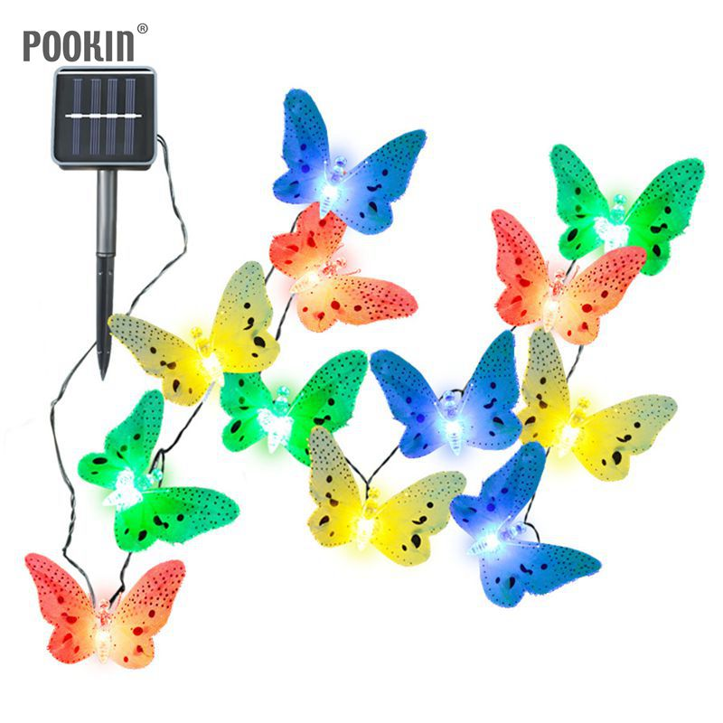 Weather Resistant Solar Lamps 12LED Multi-color Fiber Butterfly Fairy Outdoor Solar Light for Party Wedding Garden String Lights