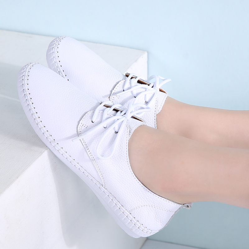 Image 4 - STQ 2019 Autumn women ballet flats oxford flat shoes soft leather shoes ladies lace up white black loafers flats boat shoes B16-in Women's Flats from Shoes