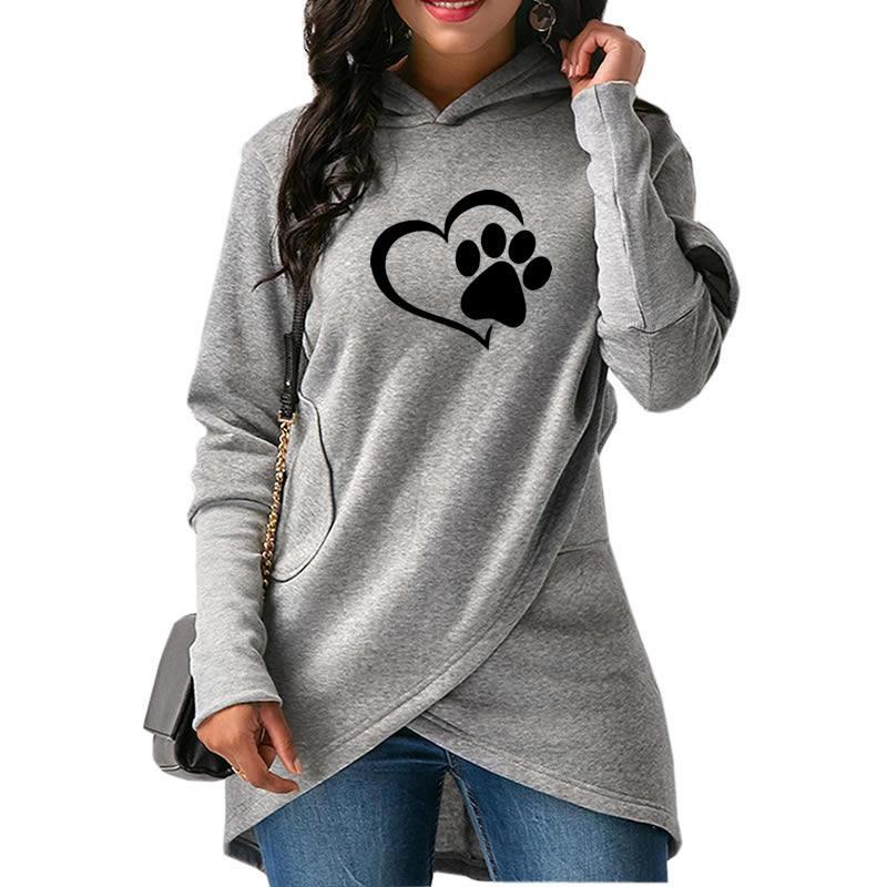 2018 neue Mode Hund Pfote Print Hoodies Bts Sweatshirts Tops Harajuku Baumwolle Lustige Hoody Plus Größe Komfortable