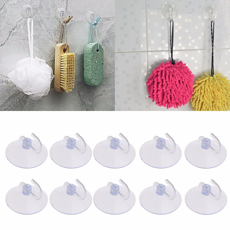 10 Pcs 1 Set Suction Cup Wall Hook Hangers Kitchen Bathroom 4cm Simple Style