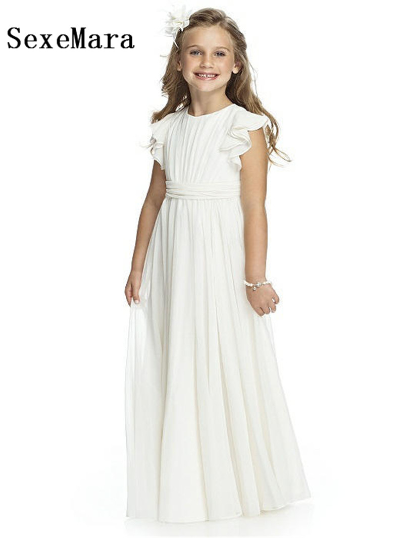 White Chiffon New Girls Dress O Neck Long Length Flower Girl Dress for Wedding Girls Formal Wear Pageant Party Gown Size 2-14Y