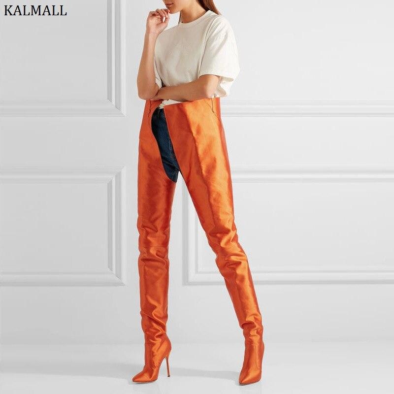 Rose Kardashian Cuisse Shown Sexy Violet Talons purple Le Hauts Soie Haute Bottes Kim Red As Kalmall Style Bout Genou black rose green Pointu Femmes Sur orange blue pink zqHn5nOPw