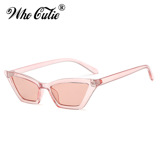 8afc9d678f51f WHO CUTIE 2018 Small Red Cat Eye Sunglasses Women Brand Retro Vintage Narrow  Rectangular Cateye Frame 90S Sun Glasses Shades 576
