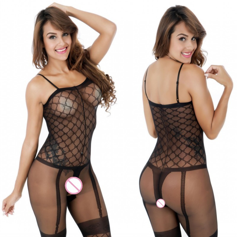 Hot Black Porn Body Suit Bodystocking Open Crotch Temptation Nylon Stockings Tights Erotic Lingerie Pajamas Sleepwear For Women