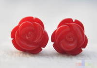HOT SELL > 12770 Hand Carved red coral rose stud earring Top quality free shipping