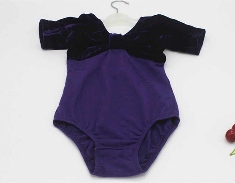Leotardo de Ballet clásico para niñas, leotardo de algodón, terciopelo, empalme para niños, ropa de gimnasia, Unitard de Ballet púrpura rosa para bailar