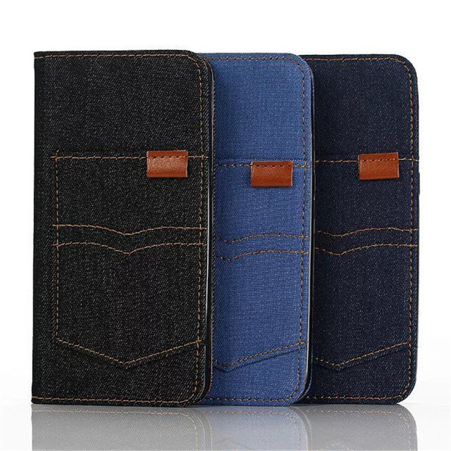 Bolso da calça jeans quente estojo de couro carteira aleta para samsung s7