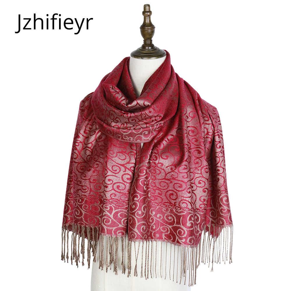 ファッションスカーフ織ショールパシュミナ mujer ケープジャカード hijabs 冬カシミールペイズリーヒジャーブファムマフラーラップティペット