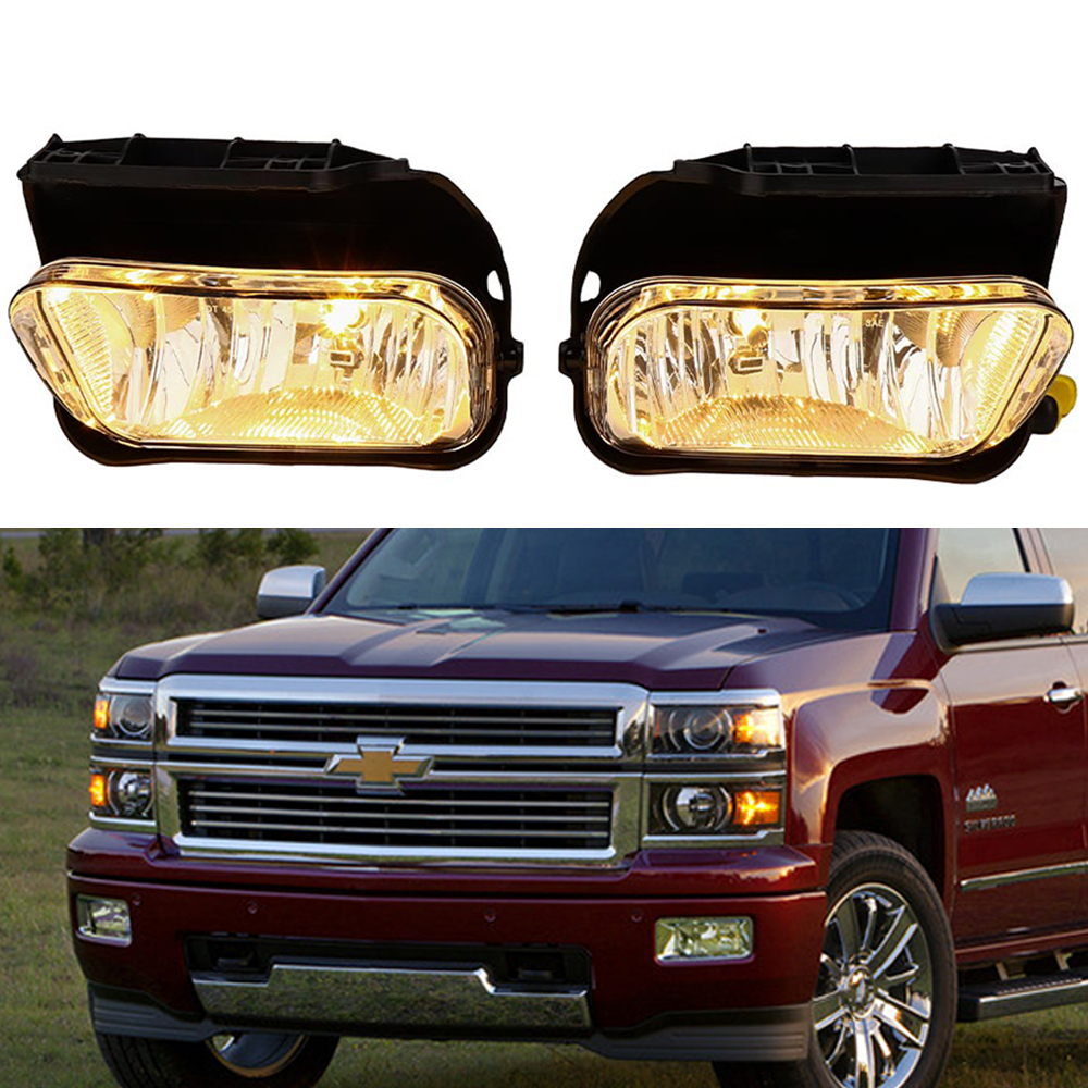 A Pair Avalanche Clear Fog Lights Driving Bumper Lamp For Chevrolet Chevy Silverado 2003 2006