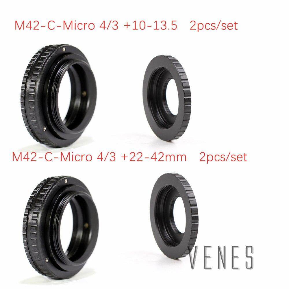 Venes 2 pièces/ensemble 22-42mm/10-13.5mm + adaptateur d'objectif M42/C monture d'objectif pour objectif M4/3 M42 focalisation réglable Tube Macro hélicoïdal