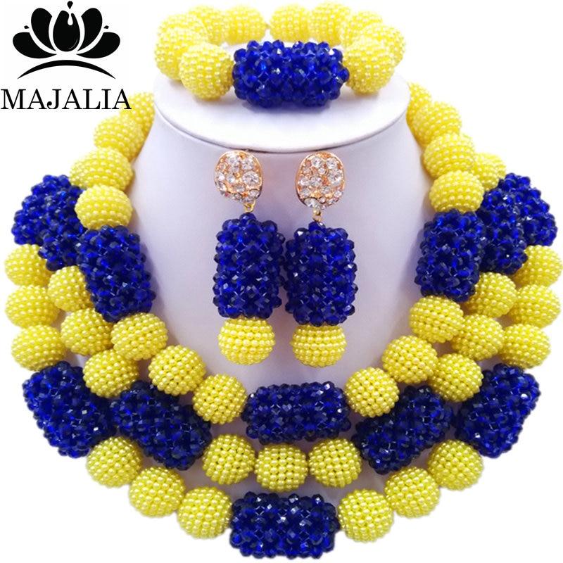 Majalia Classic Fashion Nigerian Wedding African Jewelery Set Yellow and Royal blue Crystal Necklace Bride Jewelry Sets 3SZ040Majalia Classic Fashion Nigerian Wedding African Jewelery Set Yellow and Royal blue Crystal Necklace Bride Jewelry Sets 3SZ040