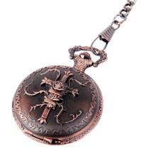 Pocket Watch Bronze Cross Motif Arabic Numerals with Chain Full Hunter Neo Vintage Steampunk Design Reloj De Bolsillo