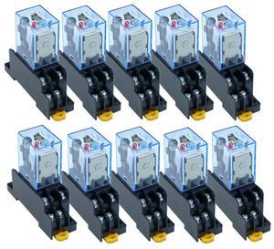 Image 1 - 10 pz relè LY2NJ DC12V DC24V AC110V AC220V piccolo relè 10A 8 pin bobina DPDT con Base presa
