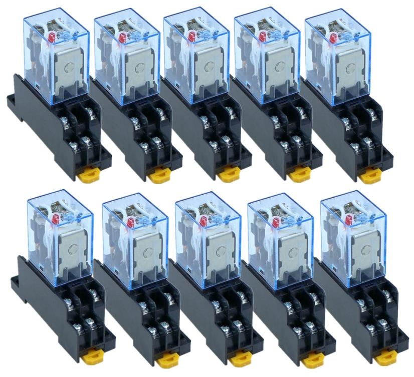 10Pcs Relay  LY2NJ  DC12V DC24V  AC110V  AC220V Small relay 10A  8 Pins Coil DPDT With Socket Base10Pcs Relay  LY2NJ  DC12V DC24V  AC110V  AC220V Small relay 10A  8 Pins Coil DPDT With Socket Base