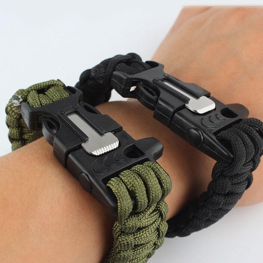 Random Colour Outdoor Paracord Bracelet Flint Fire Starter Scraper Survival Whistle Gear Kits
