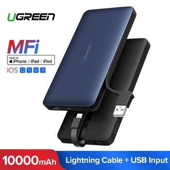 Ugreen banku mocy 10000 mAh dla iPhone X 7 Xiaomi zewnętrzny akumulator Powerbank dla USB kabel do iPhone przenośna ładowarka Poverbank