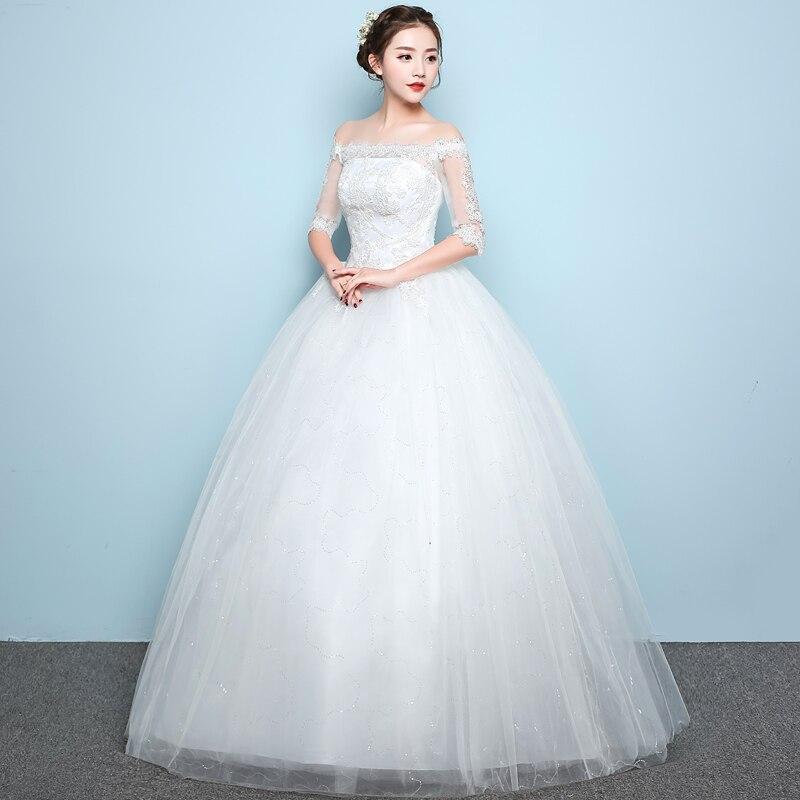 LAMYA Elegant Simple Bridal Gown Lace Boat Neck Wedding Dresses ...