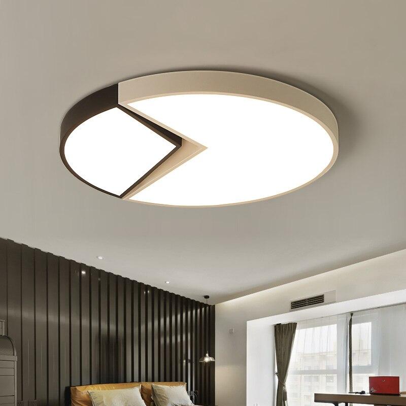 Black+White Modern Led Ceiling Lights For Bedroom Living Dining Study room Bedroom AC90-265V Ceiling Lamp Fixture