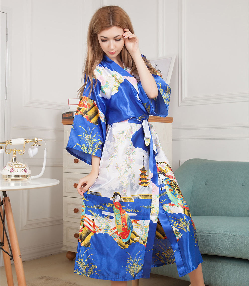 Novelty Printed Long Style Women Kimono Robe Vintage Printed Nightgown  Bathrobe Satin Sleepwear Dressing Gown One Size M05-in Robes from Underwear  ... 3b69b6312
