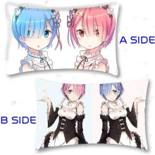 Hot Japan Anime Re:Zero kara Hajimeru Isekai Seikatsu Rem Ram Throw Pillow Case Cover Christmas Gifts 40x60cm