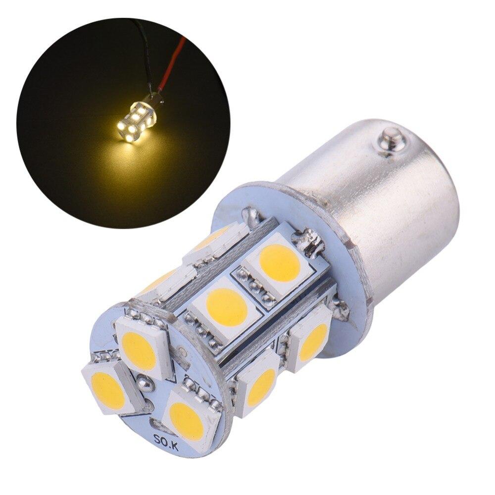 2Pcs 13SMD 5050 LED Parking Rear Tail Bulb Lamp White Auto Car Bulb 1156 BA15S P21W DC10-14 1pc 1156 1157 ba15s p21w 27 smd car auto backup reserve lights brake parking 5050 led tail signal lamp light bulb white 12v 24v