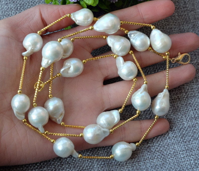 NEW 14-15mm natural white Nucleated Flameball baroque pearls Necklace 16 inches 14x18mm natural white nucleated large baroque pearls loose strand