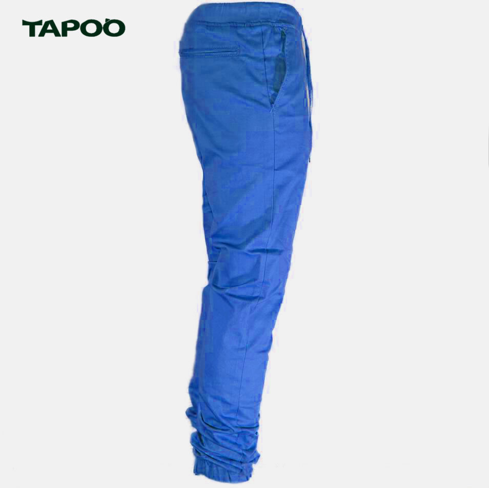 TAPOO Men's Twill Jogger Urban Hip Hop Harem Pants Casual Trousers Slim Fit Elastic Cargo Pants Men Pants