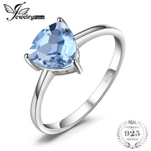 JewelryPalace Trillion 1.5ct Natural Sky Blue Topaz Birthstone Solitaire Ring Pure 925 Sterling Silver Fine Jewelry For Women